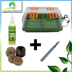 Kit bouturage Serre 12W chauffante pastille de coco Gel Root It Scalpel