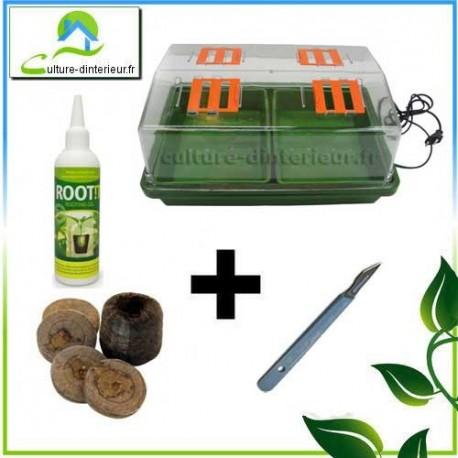 Kit bouturage Serre 12W chauffante pastille de coco Gel Root It Scalpel