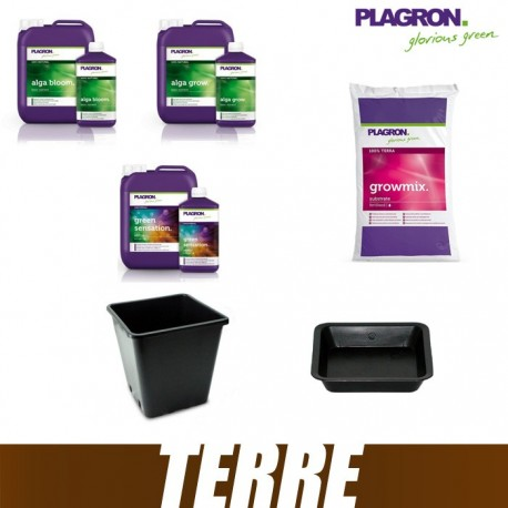 Pack Terre Plagron GrowMix 50L Alga Grow Alga Bloom Green sensation