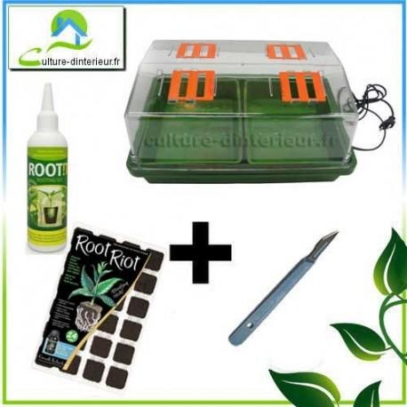 Kit bouturage Serre 12W chauffante Root Riot Gel Root It Scalpel